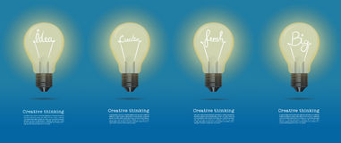 Vector realistic glowing light bulb.set of creative bulb.cretive Royalty Free Stock Image