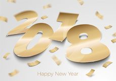 Vector realistic gold foil paper number 2018. Vector realistic gold foil paper number 2018 laying on the surface, with confetti, shadows, perspective and blur Royalty Free Stock Image
