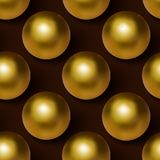Vector realistic golden ball seamless background. Golden ball seamless pattern. Royalty Free Stock Image