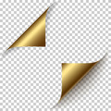 Vector realistic golden foil paper corners set Royalty Free Stock Photography