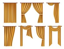 Vector realistic golden window curtains and drapes set. Vector golden window curtains and drapes set. Realistic illustration isolated on white background Royalty Free Stock Images
