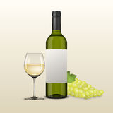 Vector realistic grapes brunch, wine glass and bottle of white wine illustartion. Design template in EPS10. Stock Photography