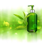 Vector realistic, green, transparent bottle 3d with soap pump,. On the leaves of green tea background, sun rays and blur. Cosmetic vial wish shampoo,gel Royalty Free Stock Photos