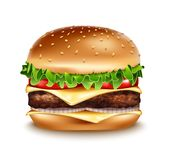 Vector Realistic Hamburger icon. Classic Burger American Cheeseburger. Classic Burger American Cheeseburger with Lettuce Tomato Onion Cheese Beef Close up Stock Photography