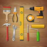 Vector realistic hand tool set. Stock Photo