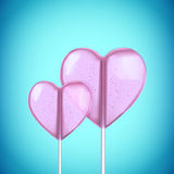 Vector realistic heart shaped hard candy on stick Stock Photography