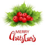 Vector realistic holly and fir tree branches. Christmas ornament. Holly green leaves and red berries isolated on white background. Merry Christmas calligraphy Royalty Free Stock Photo