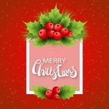 Vector realistic holly and fir tree branches. Christmas ornament. Holly green leaves and red berries on red background with snowflakes. Merry Christmas Royalty Free Stock Photo