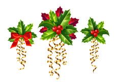 Vector realistic holly, red and golden ribbons Christmas ornaments set Royalty Free Stock Image
