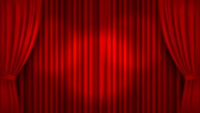 Vector realistic illuminated stage with open red velvet curtains vector illustration