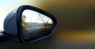 Vector realistic black rear view mirror for car. Vector realistic illustration of black rear view mirror with reflection in it, isolated on blurred background stock illustration