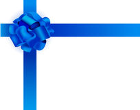 Vector realistic illustration. Blue ribbon bow. Present packaging. Space for text Royalty Free Stock Photos