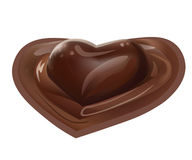 Vector Realistic Illustration of Chocolate Melted Liquid Heart Shaped Dessert on White Background Royalty Free Stock Photos