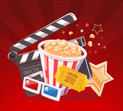 Vector realistic illustration of cinema glasses, clapper, popcorn. Yellow ticket and star on red background with rays. Art design for web, site, advertising Royalty Free Stock Photo