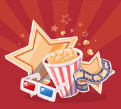 Vector realistic illustration of cinema glasses, popcorn, yellow Stock Images