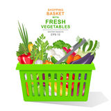 Vector realistic illustration. Colorful fresh organic vegetables and herbs in green shopping basket isolated on white background Royalty Free Stock Images