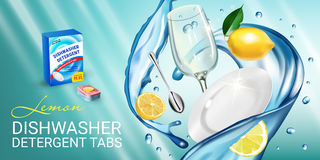Lemon fragrance dishwasher detergent tabs ads. Vector realistic Illustration with dishes in water splash and citrus fruits. Horizo Royalty Free Stock Images