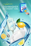 Lemon fragrance dishwasher detergent tabs ads. Vector realistic Illustration with dishes in water splash and citrus fruits. Vertic Royalty Free Stock Photography