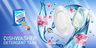 Orchid fragrance dishwasher detergent tabs ads. Vector realistic Illustration with dishes in water splash and flowers. Horizontal Stock Images
