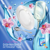 Orchid fragrance dishwasher detergent tabs ads. Vector realistic Illustration with dishes in water splash and flowers. Poster Stock Photos