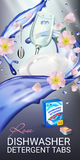 Rose fragrance dishwasher detergent tabs ads. Vector realistic Illustration with dishes in water splash and flowers. Vertical bann Stock Images