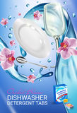 Orchid fragrance dishwasher detergent tabs ads. Vector realistic Illustration with dishes in water splash and flowers. Vertical po Royalty Free Stock Image