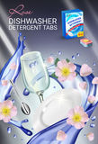 Rose fragrance dishwasher detergent tabs ads. Vector realistic Illustration with dishes in water splash and flowers. Vertical post Royalty Free Stock Photos