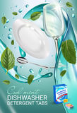 Peppermint fragrance dishwasher detergent tabs ads. Vector realistic Illustration with dishes in water splash and mint leafs. Vert Stock Photo