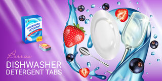 Berries fragrance dishwasher detergent tabs ads. Vector realistic Illustration with dishes in water splash, strawberry and blackcu. Vector realistic Illustration Stock Photo