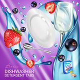 Berries fragrance dishwasher detergent tabs ads. Vector realistic Illustration with dishes in water splash, strawberry and blackcu Royalty Free Stock Image