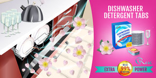 Rose fragrance dishwasher detergent tabs ads. Vector realistic Illustration with dishwasher in kitchen counter and detergent packa Stock Photography