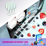 Berries fragrance dishwasher detergent tabs ads. Vector realistic Illustration with dishwasher in kitchen counter and detergent pa Stock Images
