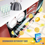 Lemon fragrance dishwasher detergent tabs ads. Vector realistic Illustration with dishwasher in kitchen counter and detergent pack Stock Image