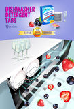 Berries fragrance dishwasher detergent tabs ads. Vector realistic Illustration with dishwasher in kitchen counter and detergent pa Royalty Free Stock Images