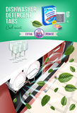 Cool mint fragrance dishwasher detergent tabs ads. Vector realistic Illustration with dishwasher in kitchen counter and detergent Royalty Free Stock Images