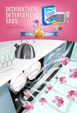 Orchid fragrance dishwasher detergent tabs ads. Vector realistic Illustration with dishwasher in kitchen counter and detergent pac Stock Photos