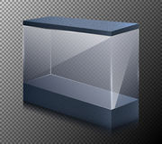 Vector realistic illustration of a empty showcase for exhibit. Transparent glass or plastic cube, isolated on a gray background. 3D design Stock Photo