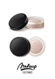 Vector realistic illustration of face tonal powder. Makeup icons set. Top view and side view of face powder jar, . Stock Images