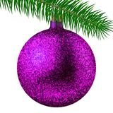 Realistic pink Christmas ball or bauble with glitter sparkles and fir branch isolated on white background. Vector illustration. Vector realistic illustration Royalty Free Stock Images