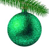 Realistic green Christmas ball or bauble with glitter sparkles and fir branch isolated on white background. Vector illustration. Vector realistic illustration Royalty Free Stock Photos