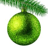 Realistic lime Christmas ball or bauble with glitter sparkles and fir branch isolated on white background. Vector illustration. Vector realistic illustration Royalty Free Stock Images