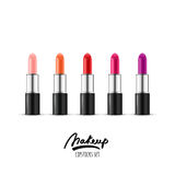 Vector realistic illustration of multicolor lipstick. Makeup icons set. Red and pink lipsticks  on white background. Royalty Free Stock Images