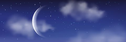 Vector realistic illustration of night cloudscape. Moon, stars, clouds on blue sky. Romantic landscape background. Vector realistic illustration of night stock illustration