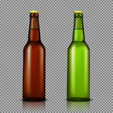 Vector realistic illustration set of transparent glass bottles with drinks, ready for branding. Without labels. Brown and green bottles for beer, soda, water Royalty Free Stock Photos