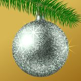 Realistic silver Christmas ball or bauble with glitter sparkles and fir branch isolated on white background. Vector illustration. Vector realistic illustration Royalty Free Stock Photo