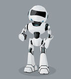 Vector realistic illustration of the white robot. Robot full of enthusiasm. Vector realistic illustration of the white robot. Vector robot on the gray Stock Photo