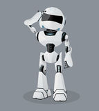 Vector realistic illustration of the white robot. scratching his head. Confused robot. Stock Photo