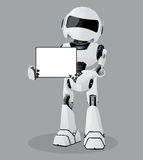 Vector realistic illustration of the white robot. Tablet in hands. Stock Photos