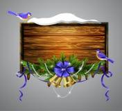 Vector wooden christmas board Stock Photography
