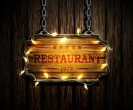 Vector realistic illustration of wooden signboard Royalty Free Stock Photography